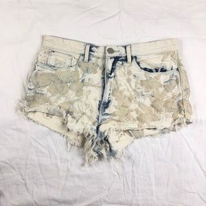 Blank NYC Shorts - Blank NYC Embroidery Acid Wash Short Leeches 31